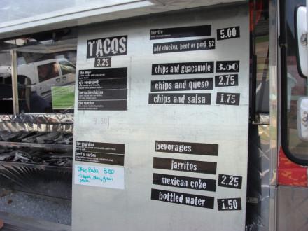 Big Truck Tacos Menu
